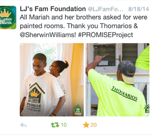 "Thomarios get a twitter shout out for donating to Lebron James Family Foundation Promise Project To Be Aired On HGTV's ""Rehab Addict"""