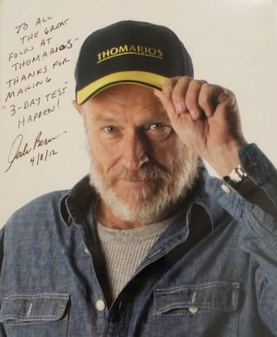 "Photo reads: To all the great folks at Thomarios - Thankd for making ""3-Day Test"" Happen. Corbin Bernsen 4/8/12"