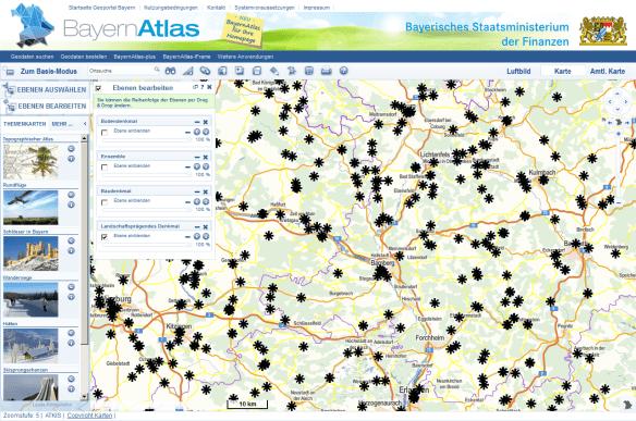 Landschaftsprägende Denkmale im Bayern-Atlas.