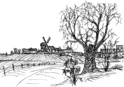 HavelSk15 Ketzuer Dorfblick mit Windmuehle