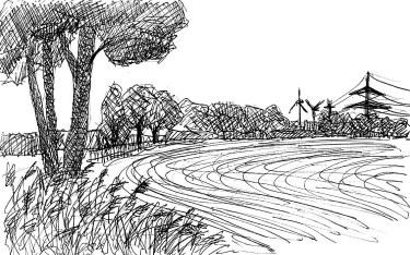 MittelSk16 Linthe Felderlandschaft mit Baeumen_
