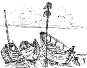 Normandie20-Boote vor Yport