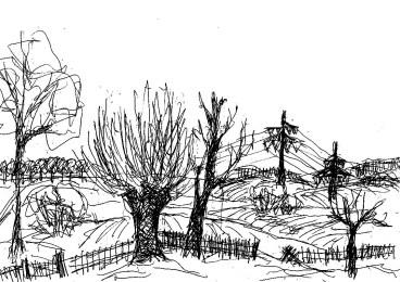 OHVSk2 Bergsdorf Landschaft mit Kopfweiden