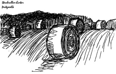 PrignitzSk1 Pritzwalk Strohrollen auf Feldern