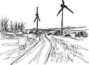 PrignitzSk13 Perleberg Landschaft mit Windraedern