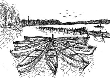 RuppinSk10 Stechlin-Boote im Kreis