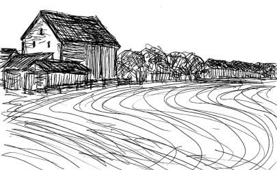 RuppinSk21 Dorf Zechlin-Acker mit Scheune