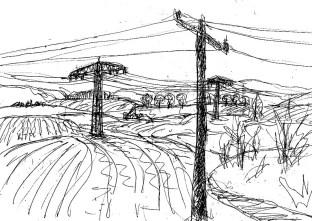 UckerSk15 Landschaft mit Strommasten bei Angermuende