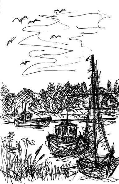 Ummanz5-Fischerboote im Bodden