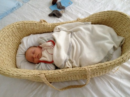 sleeping in moses basket