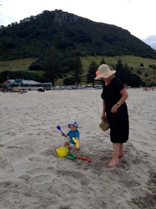 beach with grandma