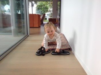 on the mat with shoes