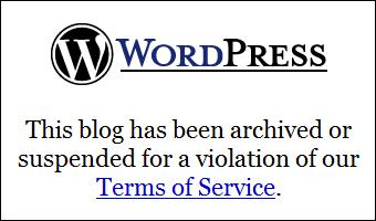 WordPress.com account suspended