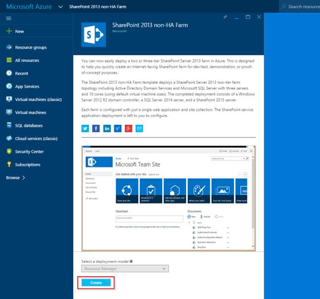 Azure template 'SharePoint 2013 non-HA Farm'