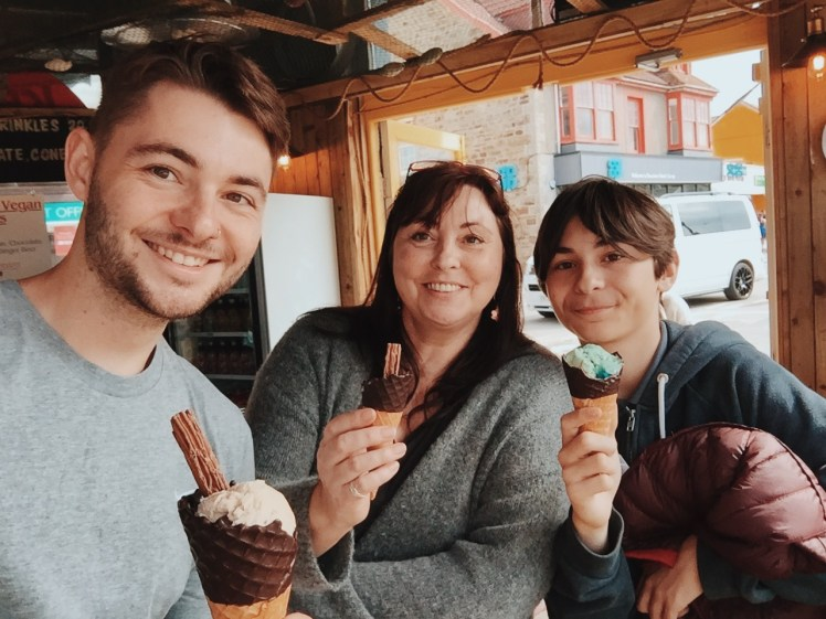 Tommy (me), my lovely mother and one of my little brothers enjoying a cheeky ice-cream in the town of Perranporth. We were celebrating my little brothers birthday.