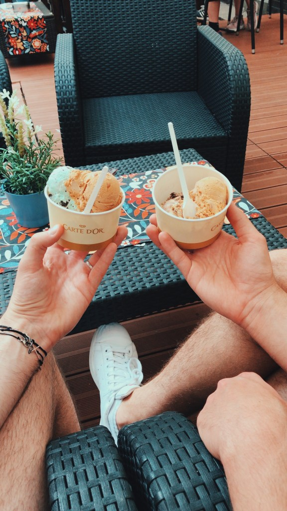 Mine and Jacobs ice-cream pots, whilst we sat outside watching the people walk past.