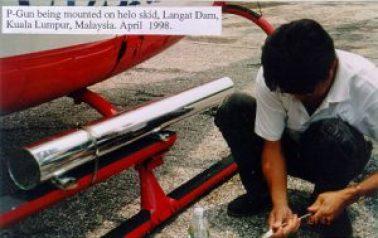 Airborne translator mounted on helicopter, Malaysia 1998
