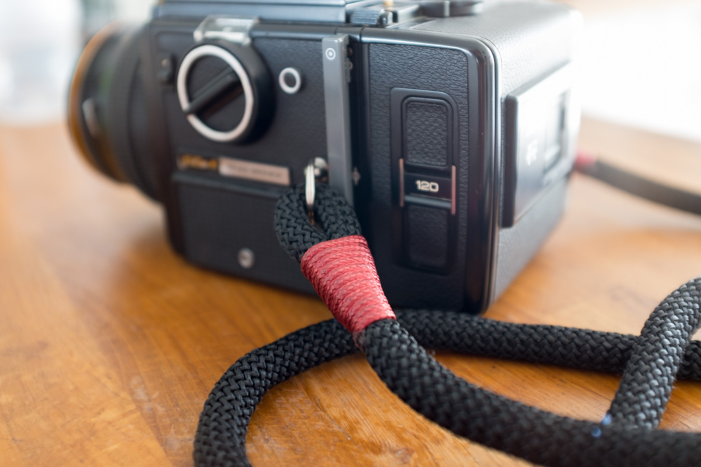 Hyperion camera strap on Bronica