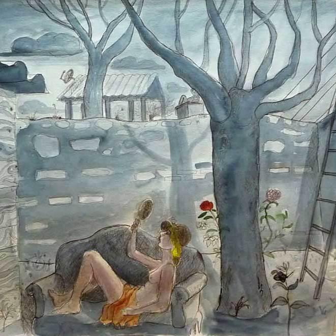 """Thomas Groslier """"Le vieux mur"""" 2012 Encre de Chine et aquarelle sur papier 50 x 65 cm"""
