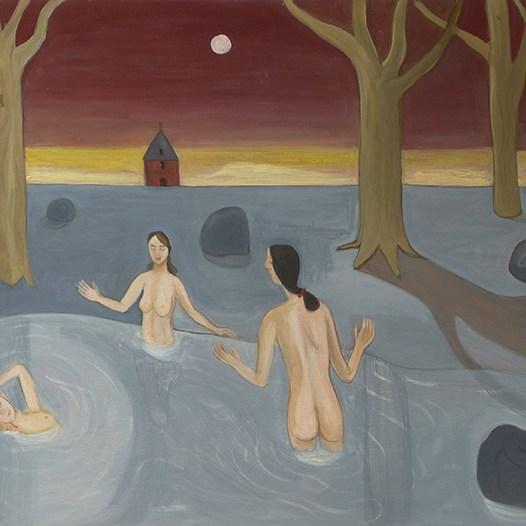 """Thomas Groslier """"Figures païennes dans un paysage"""" 2020 Huile sur isorel. 60 x 80 cm"""