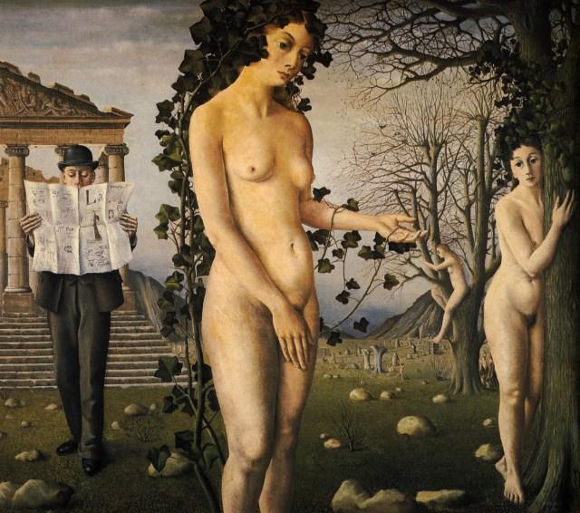 """Paul Delvaux """"L'homme dans la rue"""" 1940"""