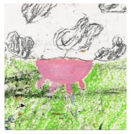 Lichtnahrung, 2011, Kohle und Wachskreide auf Papier, 14,8 x 14,3cm