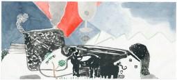 O.T., 2012, Aquarell auf Papier, 8,8 x 20cm