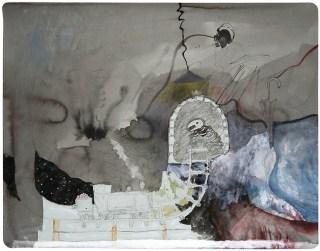 Urzeit der Arbeit, 2014, Kohle, Tusche und Gouache auf Papier, 48,5 x 62cm