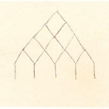 Dorf, Kohle auf Papier, 12,4 x 12,6cm