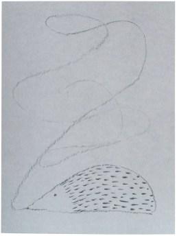 Traum eines Igels, 2015, Kohle auf Karton, 41,3 x 31cm