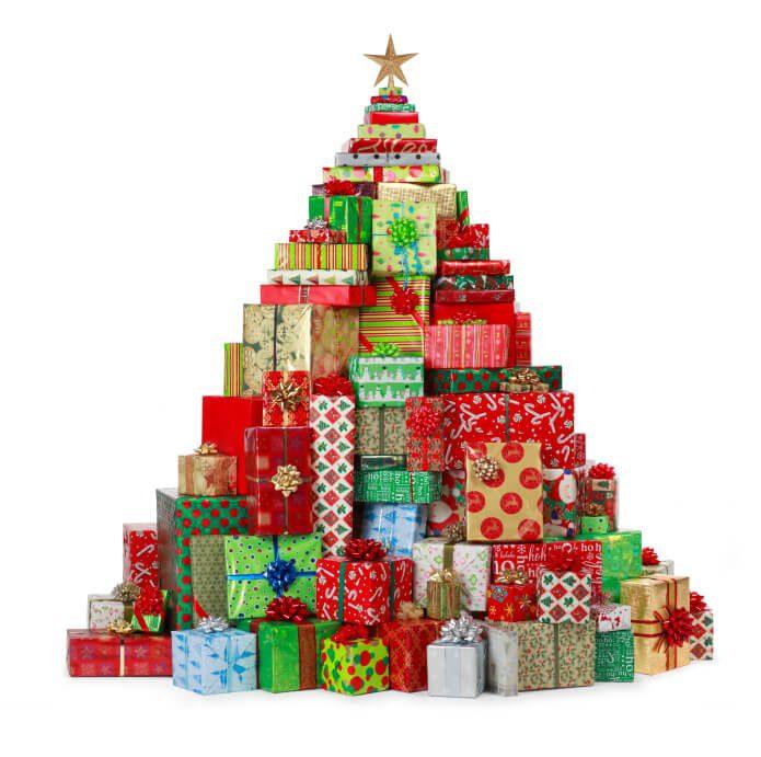 christmas tree made of gifts