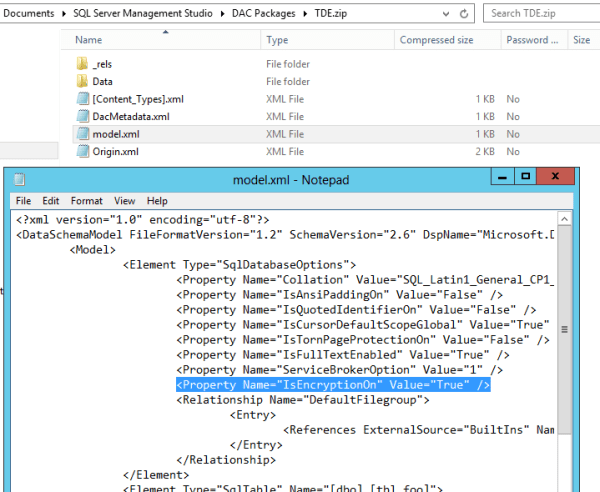 The model.xml file shows our database was encrypted.