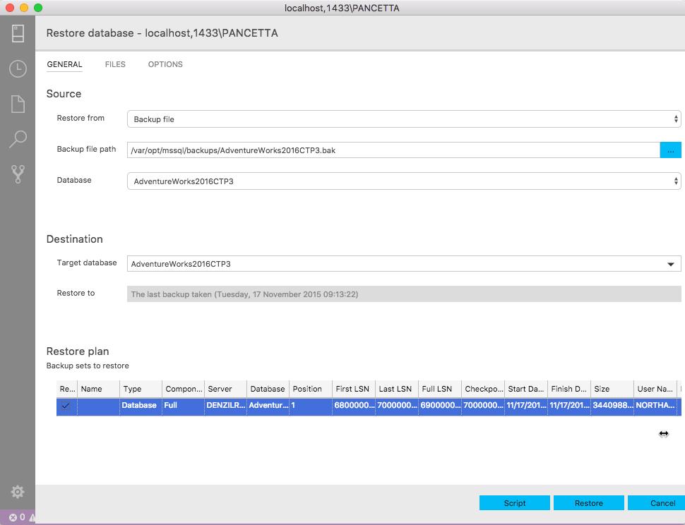 Restoring SQL Server Database on Linux in docker container