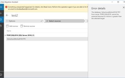 Data Migration Assistant Error During Assessment of SQL Server 2017