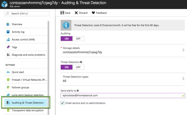 Enable audit and threat detection for azure