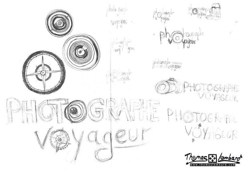esquisses et recherches crayonnées pour le logo Photographe Voyageur