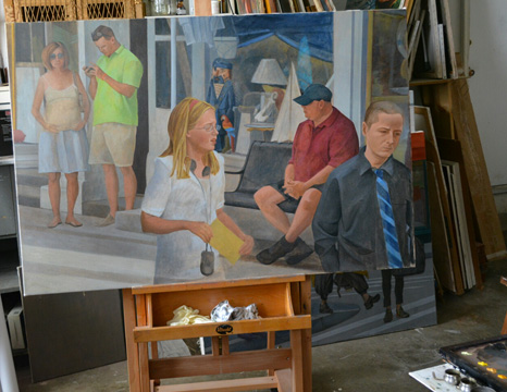 The unfinished 'Main Street #1' on the easel