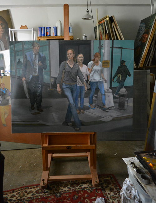The unfinished 'Sunday Parade' on the easel