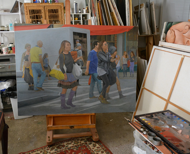 The unfinished 'Woman in Purple Boots II' on the easel