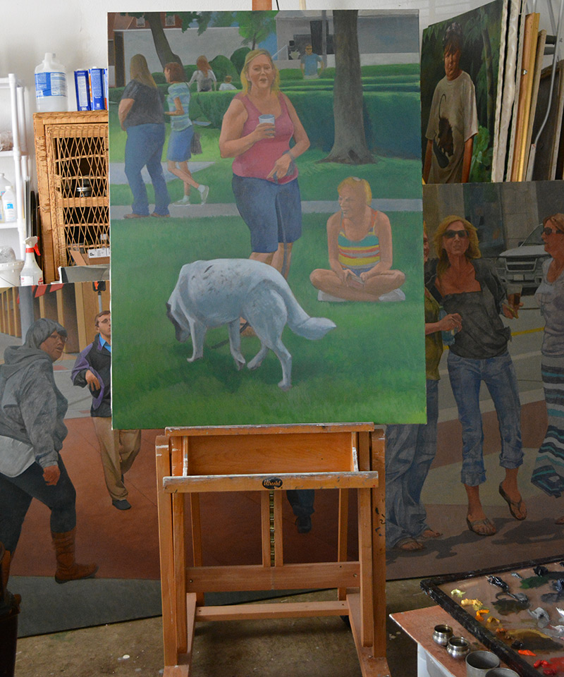 "'Victory Park I"" on the easel"