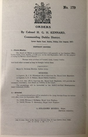 Court-martial order, 31 August 1917