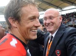 2013: Bernard Laporte, coach du RC Toulon depuis 2011, avec la légende Jonny Wilkinson.