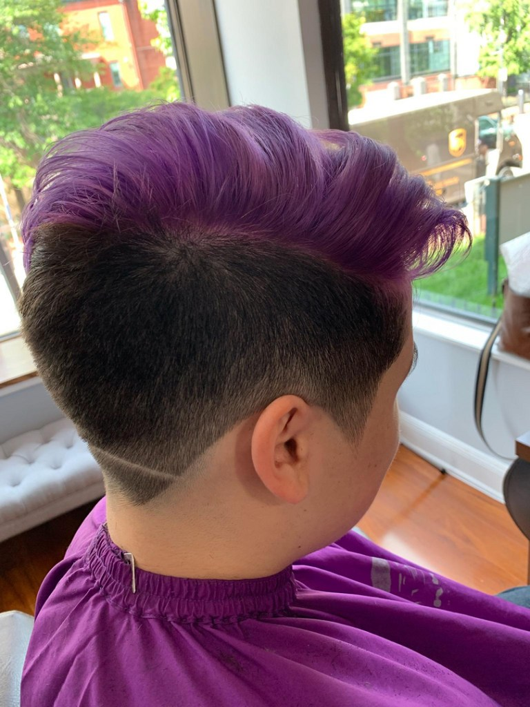 Thomas Shelton Stylist Carlos's Client with Purple Fade