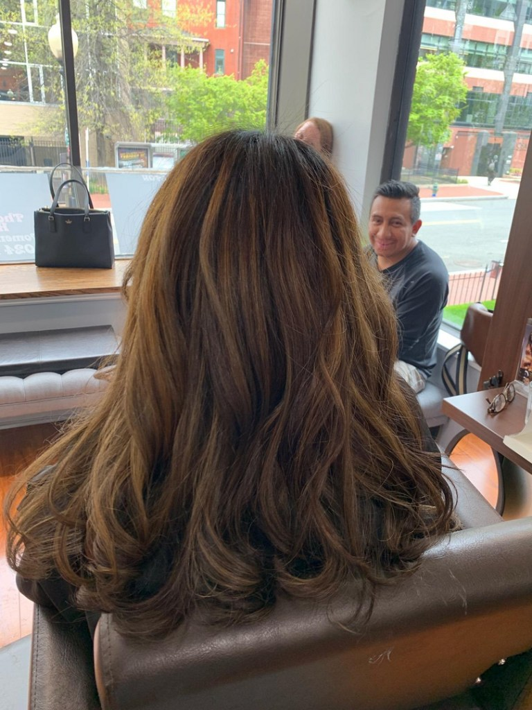 Thomas Shelton Stylist Carlos's Client with Honey Highlights