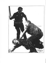 Police clubbing. Artist: ©Thomas Silverstein.