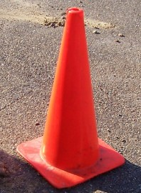Caution cone at a construction site.