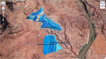 """Des bassins de la potasse dans l'Utah (38 ° 29'0.16 """"N 109 ° 40'52.80″ W) Moab, Utah, États-Unis"""