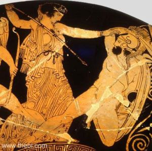 Detail of Hera battling the Gigante Phoitos from a painting of the Gigantomakhia (War of the Giants). The goddess aims her spear at the sword and shield armed giant. http://www.theoi.com/Gallery/K4.3.html