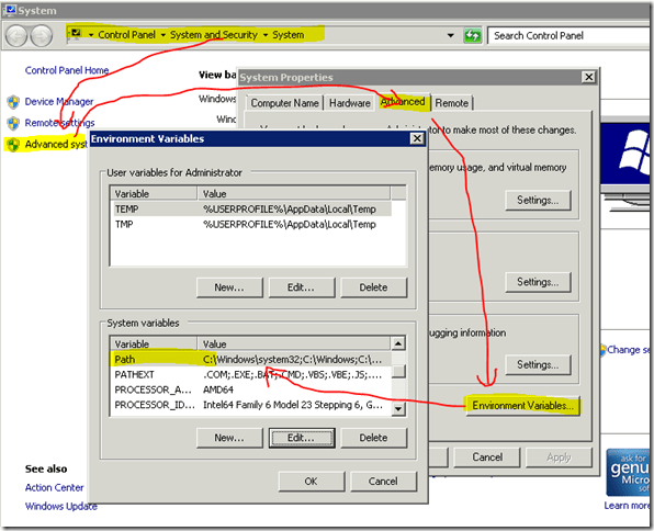 How to add a Path to the System Variables in Windows 2008 R2 (2/2)