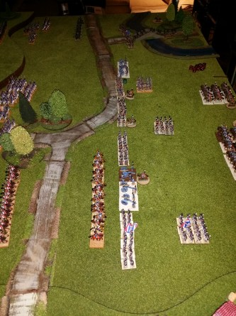 "The French Light Horse charge the guns - the guns and infantry are about to fire and ""hemimate"" the French (if decimate is take one in ten, hemimate is take one in two)"